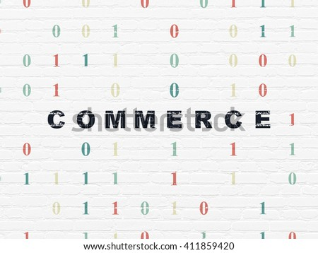 Business concept: Painted black text Commerce on White Brick wall background with Binary Code - stock photo