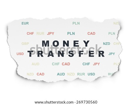 Business concept: Painted black text Money Transfer on Torn Paper background with  Currency, 3d render