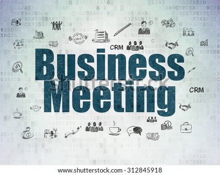 Business concept: Painted blue text Business Meeting on Digital Paper background with  Hand Drawn Business Icons
