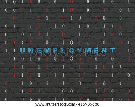 Business concept: Painted blue text Unemployment on Black Brick wall background with Binary Code - stock photo