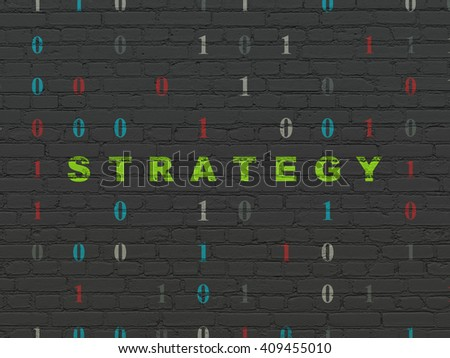 Business concept: Painted green text Strategy on Black Brick wall background with Binary Code - stock photo