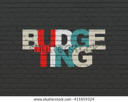 Business concept: Painted multicolor text Budgeting on Black Brick wall background - stock photo