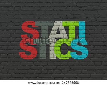Business concept: Painted multicolor text Statistics on Black Brick wall background, 3d render - stock photo