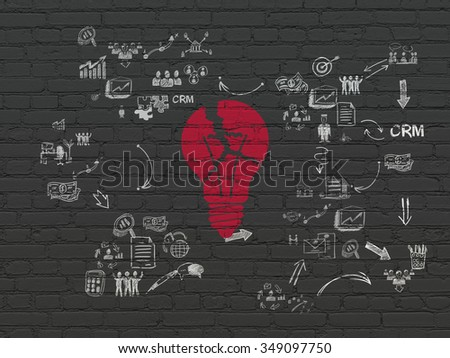 Business concept: Painted red Light Bulb icon on Black Brick wall background with Scheme Of Hand Drawn Business Icons