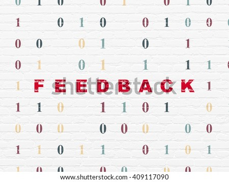 Business concept: Painted red text Feedback on White Brick wall background with Binary Code - stock photo
