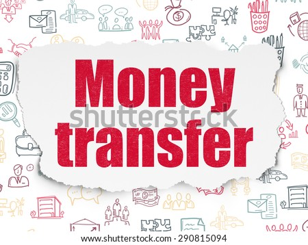 Business concept: Painted red text Money Transfer on Torn Paper background with  Hand Drawn Business Icons, 3d render