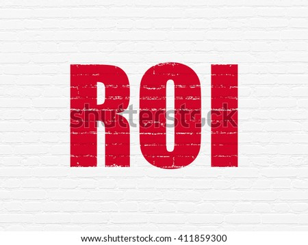 Business concept: Painted red text ROI on White Brick wall background - stock photo