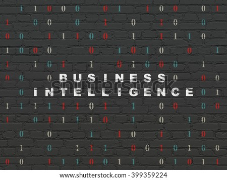 Business concept: Painted white text Business Intelligence on Black Brick wall background with Binary Code - stock photo