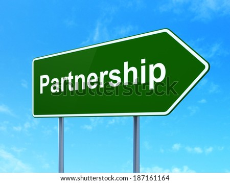 Business concept: Partnership on green road (highway) sign, clear blue sky background, 3d render