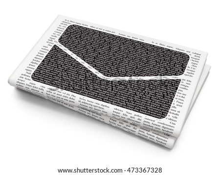 Business concept: Pixelated black Email icon on Newspaper background, 3D rendering