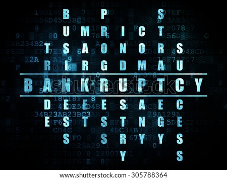 Business concept: Pixelated blue word Bankruptcy in solving Crossword Puzzle on Digital background, 3d render - stock photo