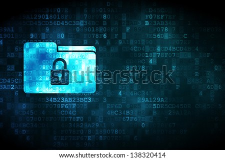 Business concept: pixelated Folder icon on digital background, empty copyspace for card, text, advertising, 3d render - stock photo
