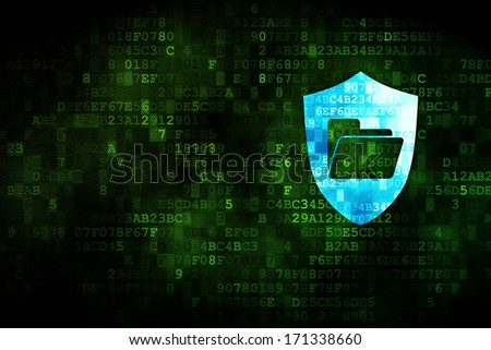 Business concept: pixelated Folder With Shield icon on digital background, empty copyspace for card, text, advertising, 3d render - stock photo