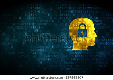 Business concept: pixelated Head Whis Padlock icon on digital background, empty copyspace for card, text, advertising, 3d render