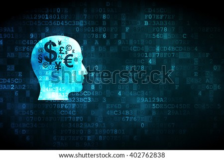 Business concept: pixelated Head With Finance Symbol icon on digital background, empty copyspace for card, text, advertising - stock photo