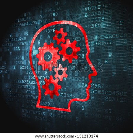 Business concept: pixelated Head With Gears icon on digital background, 3d render