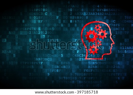 Business concept: pixelated Head With Gears icon on digital background, empty copyspace for card, text, advertising