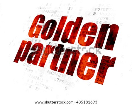 Business concept: Pixelated red text Golden Partner on Digital background