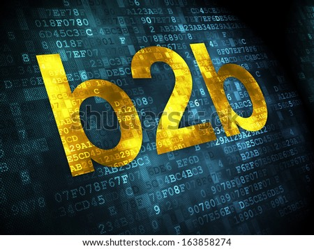 Business concept: pixelated words B2b on digital background, 3d render - stock photo