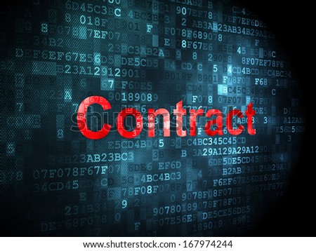 Business concept: pixelated words Contract on digital background, 3d render