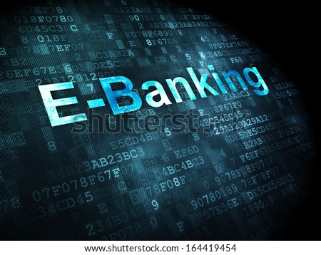 Business concept: pixelated words E-Banking on digital background, 3d render