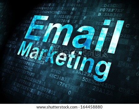 Business concept: pixelated words Email Marketing on digital background, 3d render