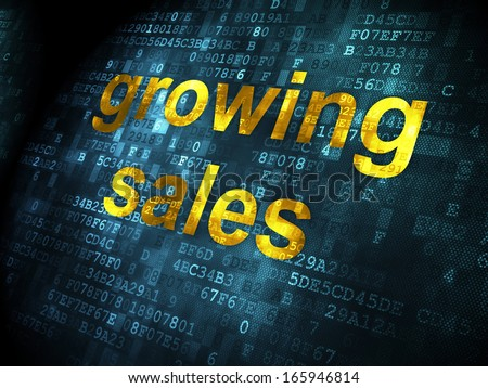 Business concept: pixelated words Growing Sales on digital background, 3d render