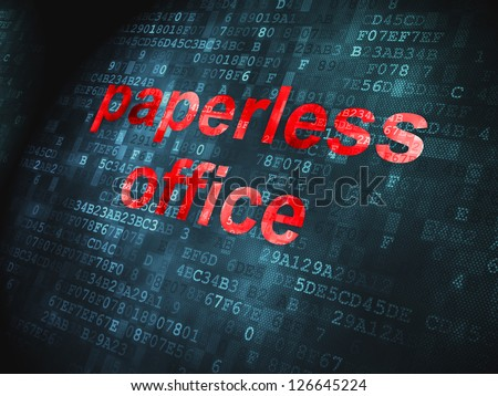 Business concept: pixelated words Paperless Office on digital background, 3d render