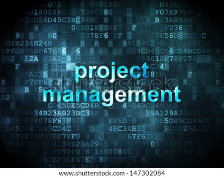 Business concept: pixelated words Project Management on digital background, 3d render - stock photo