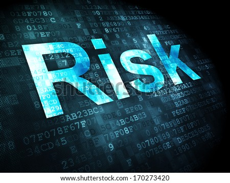 Business concept: pixelated words Risk on digital background, 3d render - stock photo