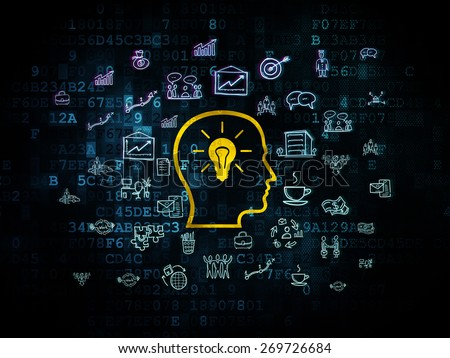 Business concept: Pixelated yellow Head With Lightbulb icon on Digital background with  Hand Drawn Business Icons, 3d render - stock photo