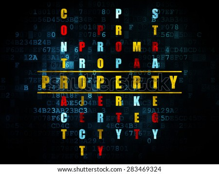 Business concept: Pixelated yellow word Property in solving Crossword Puzzle on Digital background, 3d render - stock photo