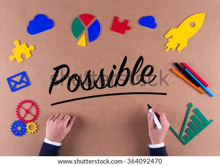 Business Concept-Possible word with colorful icons - stock photo