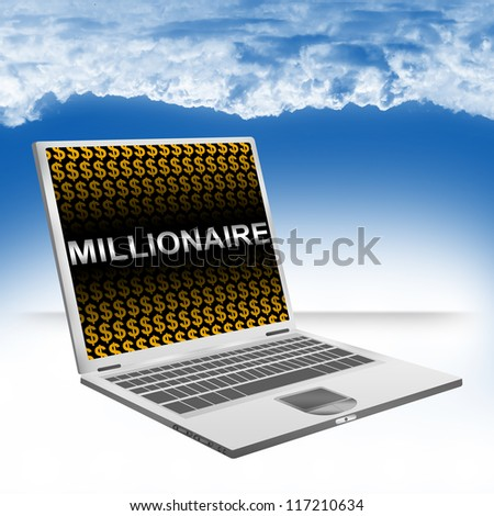 Business Concept Present by Computer Laptop With Silver Millionaire Text and Orange Dollar Sign Wallpaper Against The Blue Sky Background - stock photo