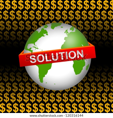 Business Concept Present by Green Globe With Red Solution Band In Orange Dollar Sign Background - stock photo