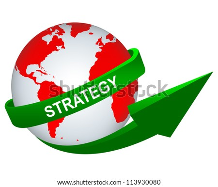 Business Concept Present By Green Strategy Arrow Around The Red World Isolated on White Background - stock photo