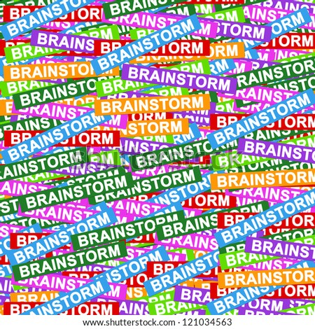 Business Concept Present By Group of Colorful Brainstorm Label Background