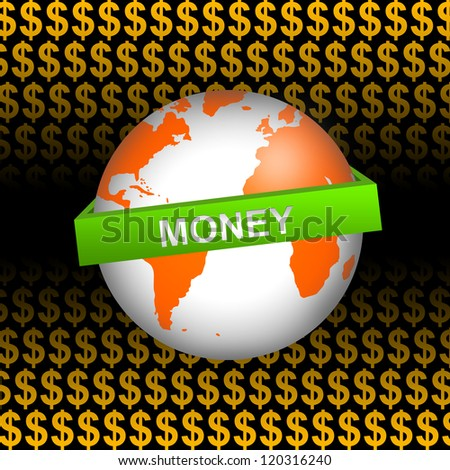 Business Concept Present by Orange Globe With Green Money Band In Orange Dollar Sign Background - stock photo