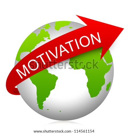 Business Concept Present By Red Motivation Arrow On The Green Globe Isolated On White Background - stock photo
