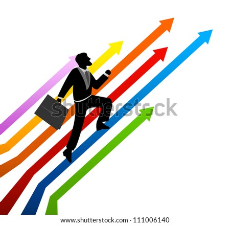 Business Concept Present By The Businessman Stepping Up a Colorful Arrow to The Top for Success Isolated On White Background - stock photo