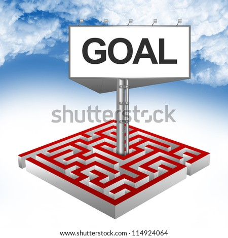 Business Concept Present By The Maze And The Highway Billboard With Goal Text Against A Blue Sky Background - stock photo