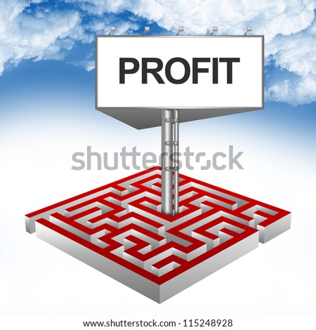 Business Concept Present By The Maze And The Highway Billboard With Profit Text Against A Blue Sky Background - stock photo