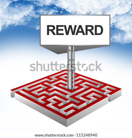 Business Concept Present By The Maze And The Highway Billboard With Reward Text Against A Blue Sky Background - stock photo