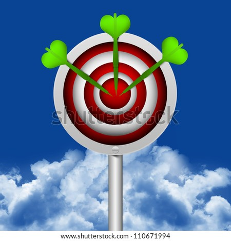 Business Concept Present With The Darts Hitting a Target in Blue Sky Background - stock photo
