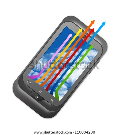 Business Concept, Present With The Smart Phone With Colorful Arrow on Blue Sky Screen Isolated on White Background