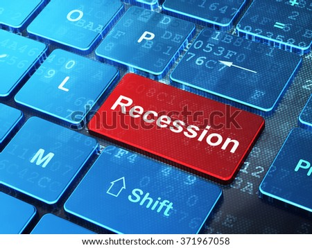 Business concept: Recession on computer keyboard background - stock photo