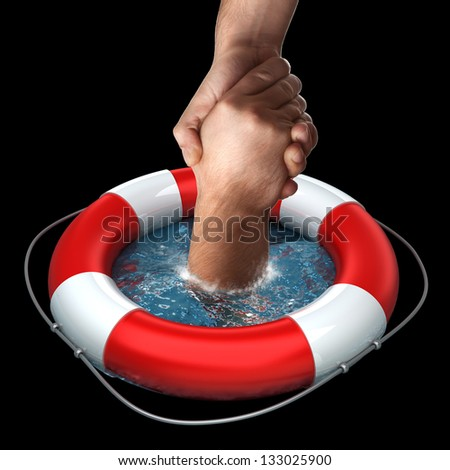 Business concept Red life buoy with hands in the water High resolution - stock photo
