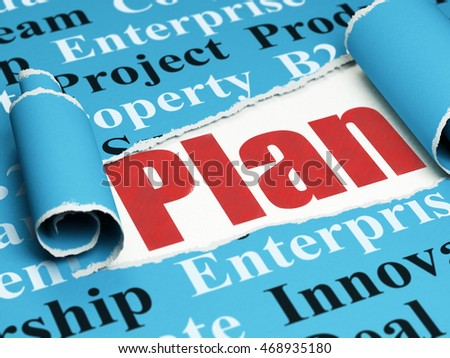 Business concept: red text Plan under the curled piece of Blue torn paper with  Tag Cloud, 3D rendering