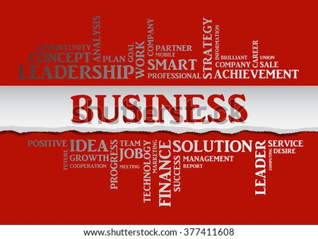 Business concept related words in tag cloud isolated with different association business terms. The effect of torn paper, silver letters on a red background - stock photo