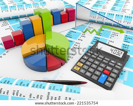 business concept: render of graphics and a calculator over balance accounts